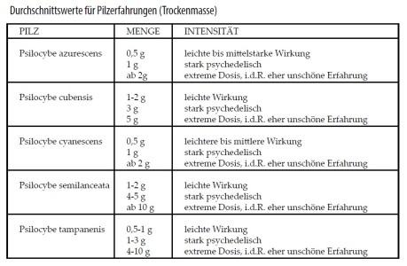 Pilz-Menge-Intensität-Zauberpilze-Tabelle