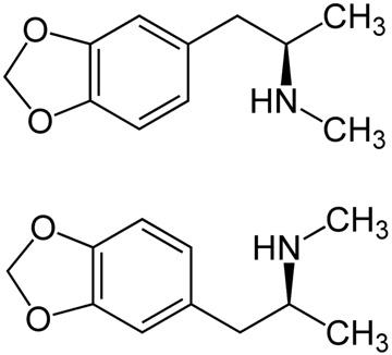 (R)-Form (oben) und (S)-Form (unten)