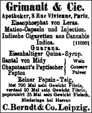 Inserat der Firma Grimault & Cie. für indische Zigaretten, um 1880.